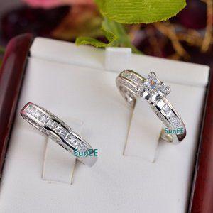Real 925 Princess Wedding Engagement Ring Set sz 5